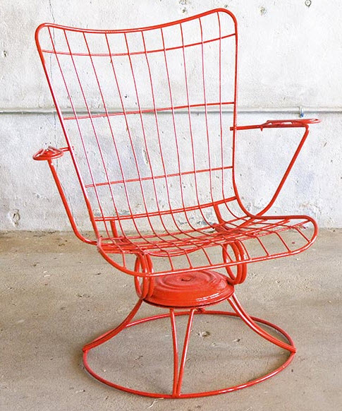 Red Mid Century Metal Chair